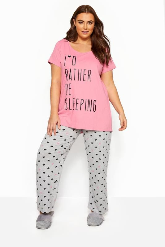Plus Size Pyjamas Grey Heart Print Pyjama Bottoms