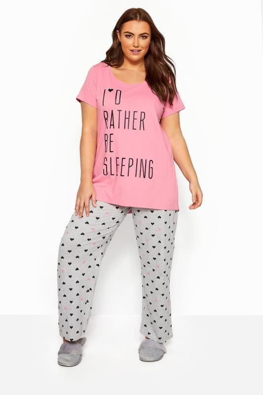 Pyjamas dla puszystych Grey Heart Print Pyjama Bottoms