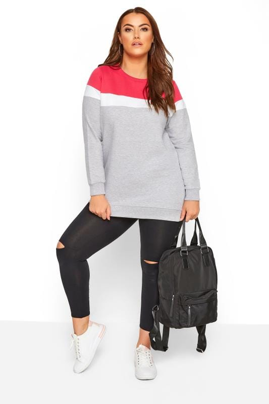 Grey & Hot Pink Colour Block Sweatshirt