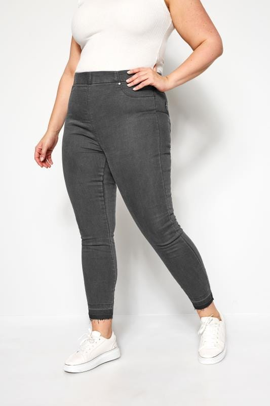 Plus Size Jeggings Grey JENNY Jeggings With Raw Hem
