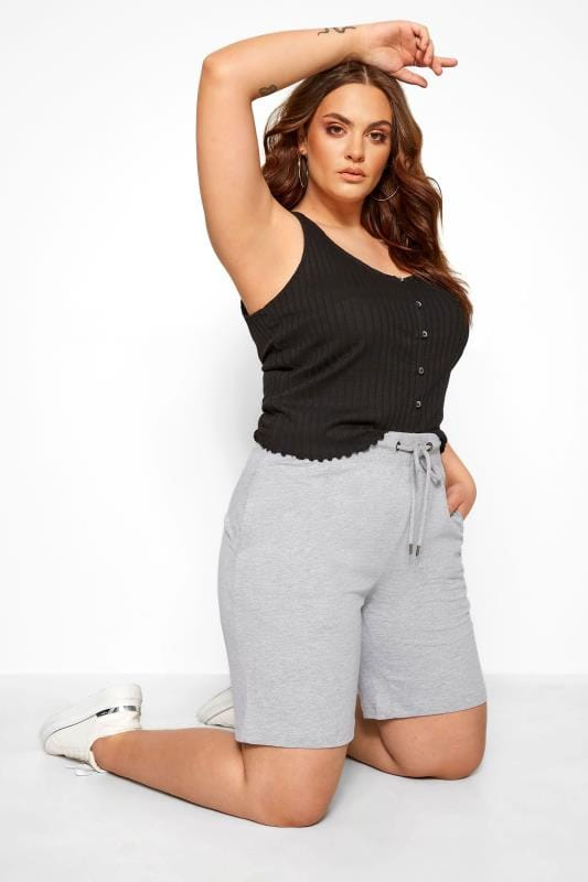Plus Size Fashion Shorts Grey Jogger Shorts