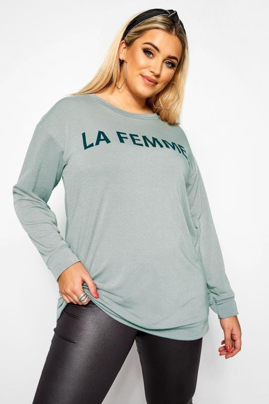 Plus Size Sweatshirts Grey 'La Femme' Slogan Sweatshirt
