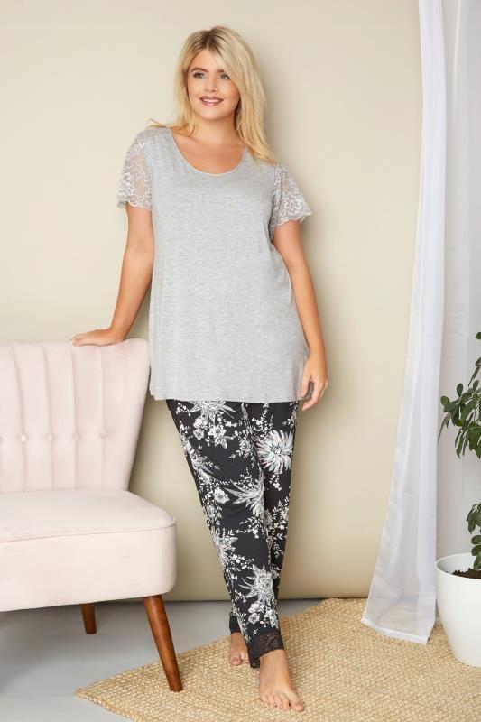 Grey Lace Loungewear Top
