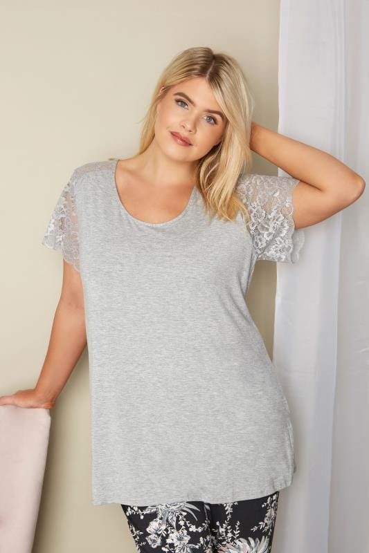 Plus Size Pyjamas Grey Lace Loungewear Top