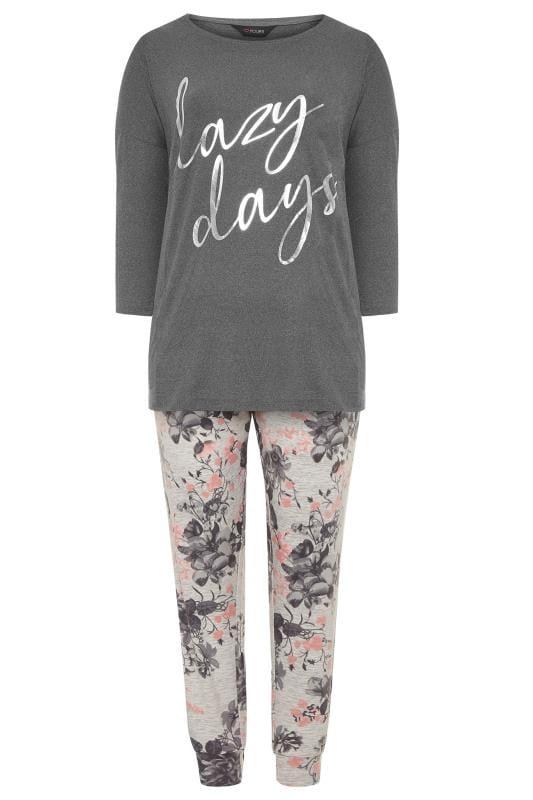 Grey Foil 'Lazy Days' Slogan Lounge Set