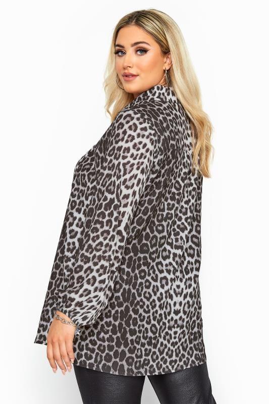 Grey Leopard Print Balloon Sleeve Shirt