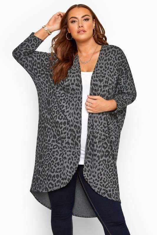 Plus Size Cardigans Grey Leopard Print Cocoon Cardigan
