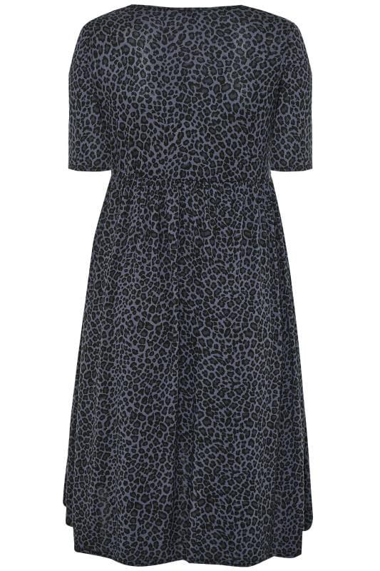 Grey Leopard Print Dipped Hem Wrap Dress