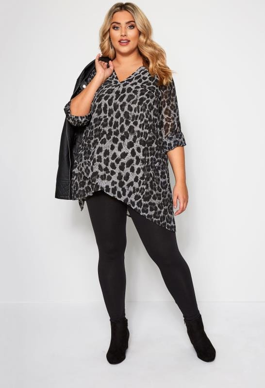Plus Size Blouses & Shirts Grey Leopard Print Double Layered Blouse