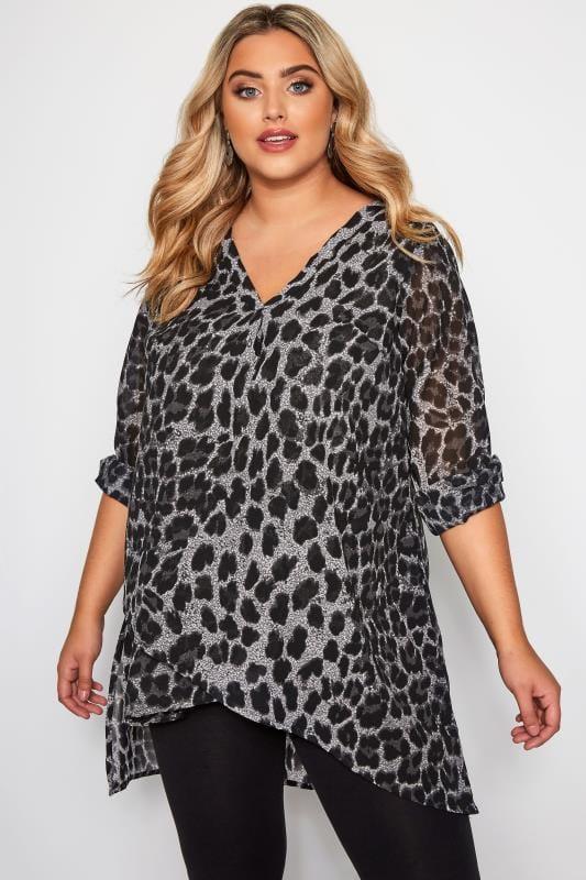 Большие размеры | Блузки и рубашки Серая двухслойная блузка с леопардовым принтом
