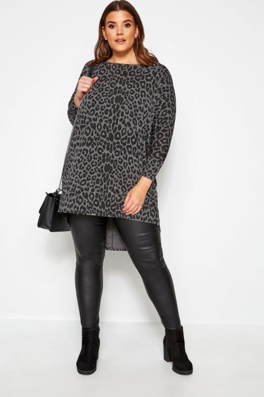 Grey Leopard Print Extreme Dipped Hem Top