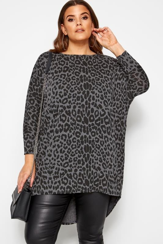 Plus-Größen Jersey Tops Grey Leopard Print Extreme Dipped Hem Top