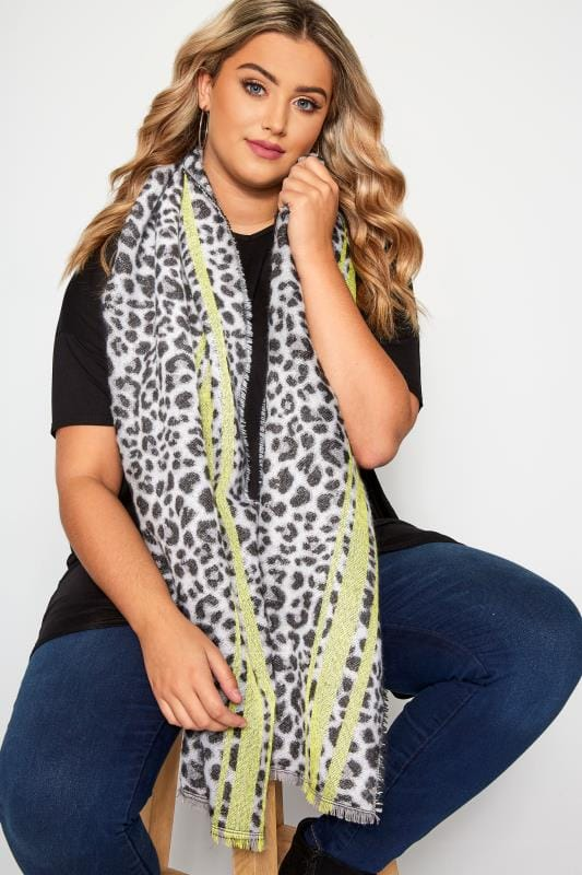 Plus Size Scarves Grey & Lime Green Leopard Print Scarf
