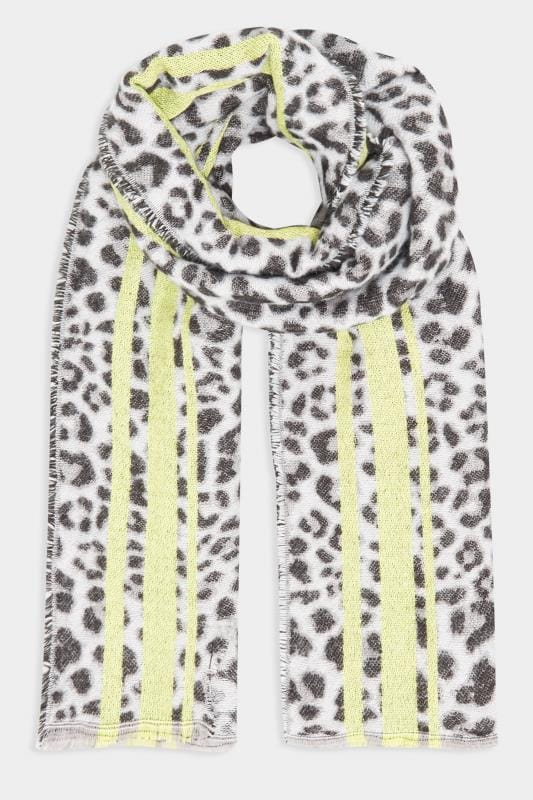 Grey & Lime Green Leopard Print Scarf