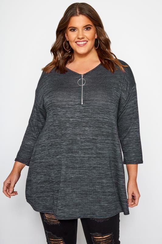Plus Size Longline Tops Grey Longline Top With Zip Front