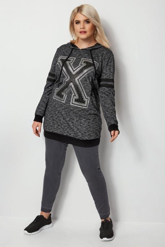 Grey Longline 'X' Print Hoodie