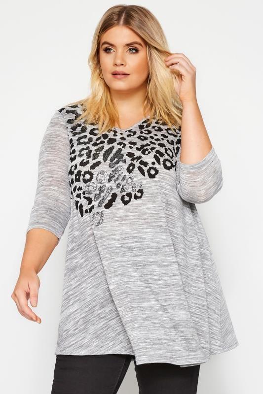 Grey Marl Animal Print Embellished Top