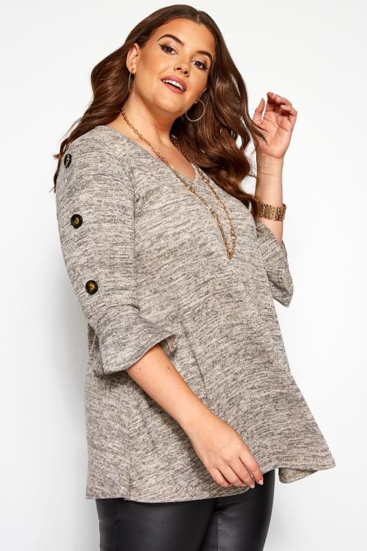Plus Size Knitted Tops & Jumpers Grey Marl Button Knitted Top