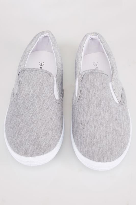 Grey Marl Canvas Slip On Plimsolls