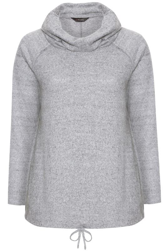 Grey Marl Cowl Neck Knitted Jumper