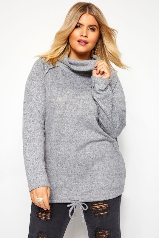 Pullover mit halsfernem Rollkragen - Grau meliert