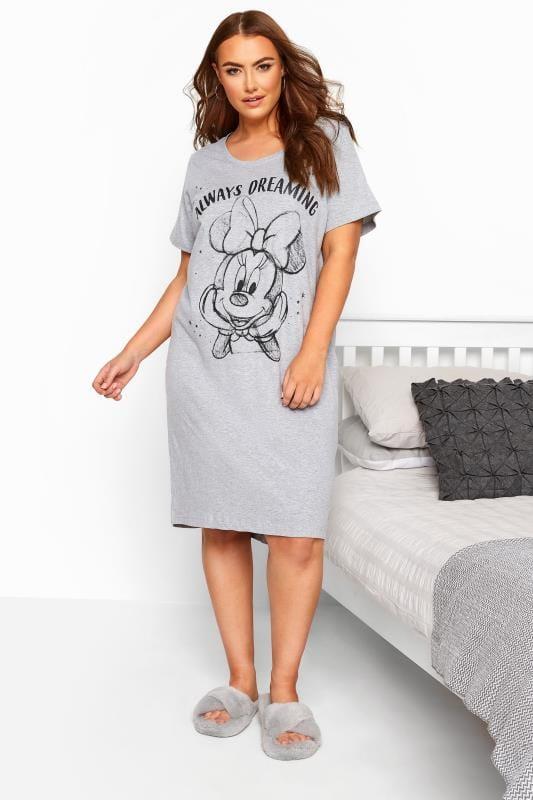 Plus Size Nightdresses & Chemises Grey Marl Disney Minnie Mouse Nightdress