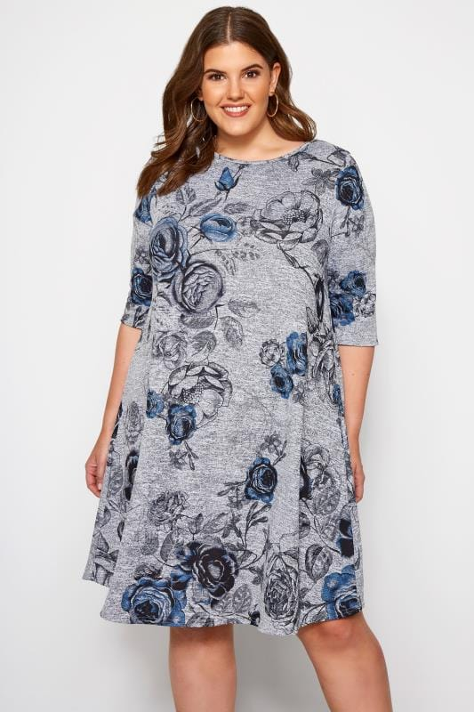 Plus Size Jersey Dresses Grey Marl Floral Print Swing Dress