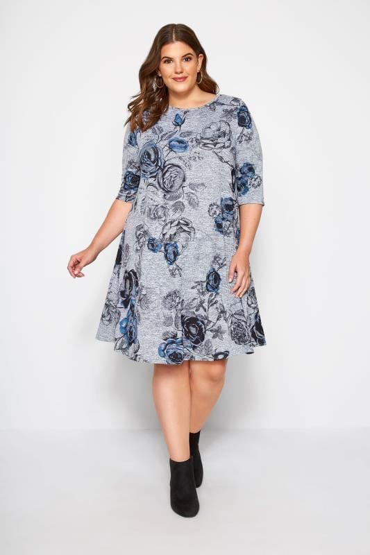 Blumen-Kleid - Grau Meliert, große Größen 44 bis 60 ...