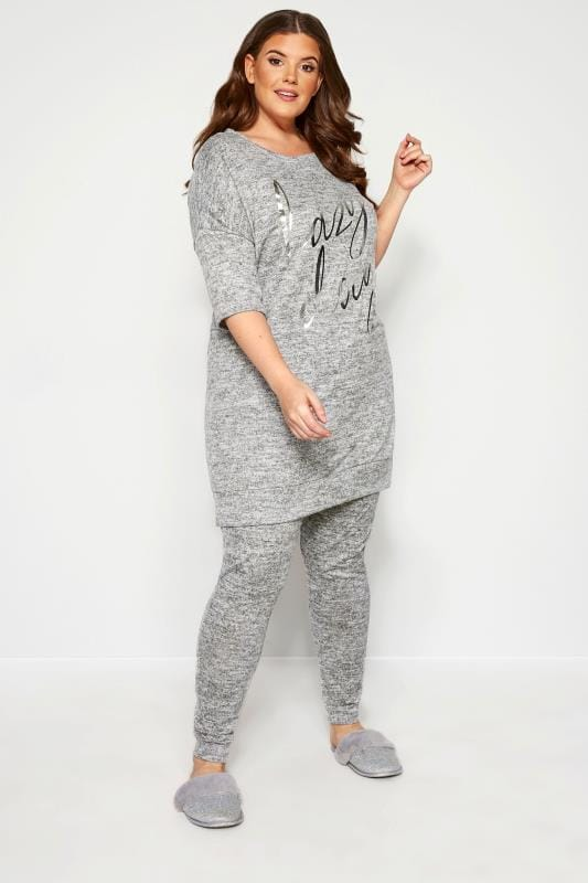 Plus Size Loungewear Grande Taille Grey Marl Foil 'Lazy Days' Slogan Lounge Top