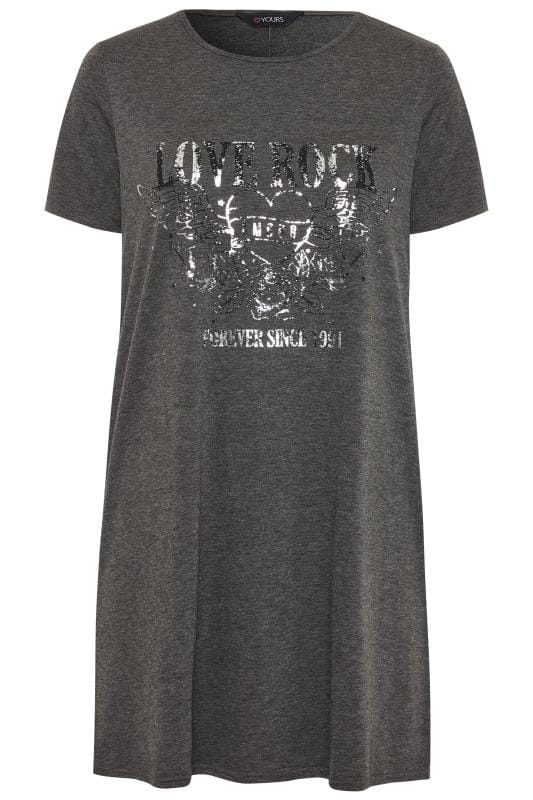 Grey Marl Foil Rock Slogan T-Shirt Dress
