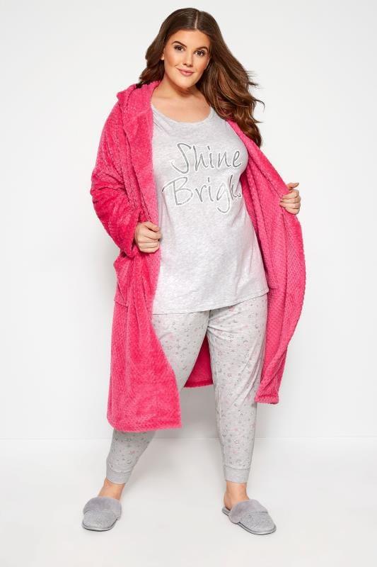 Grey Marl Glitter 'Shine Bright' Pyjama Set