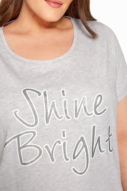 Pyjama-set met 'Shine Bright' slogan in grijs