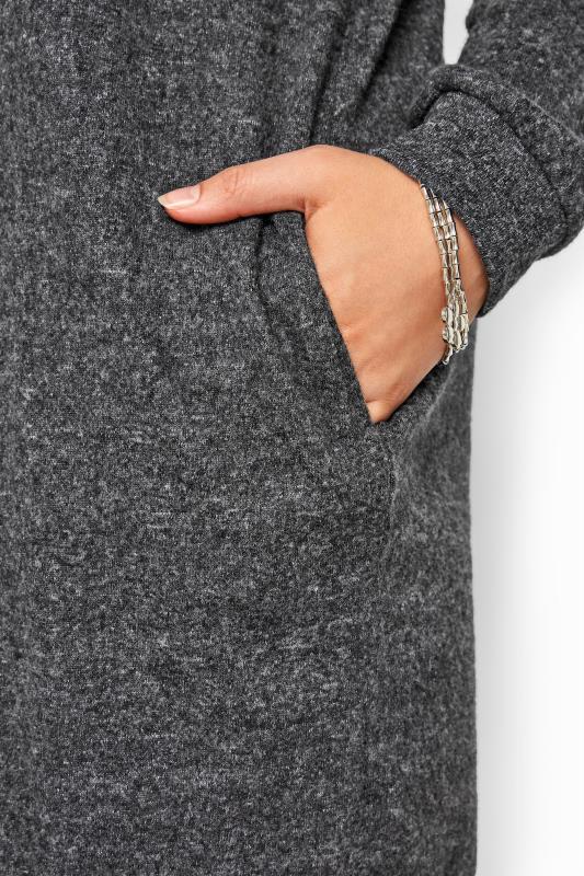 Grey Marl Longline Knitted Hoodie