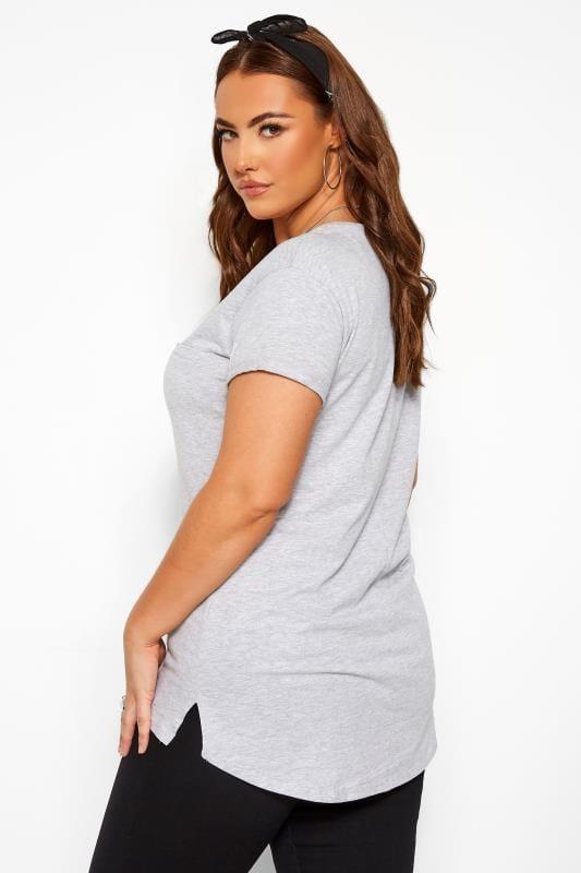Grey Marl Mock Pocket T-Shirt