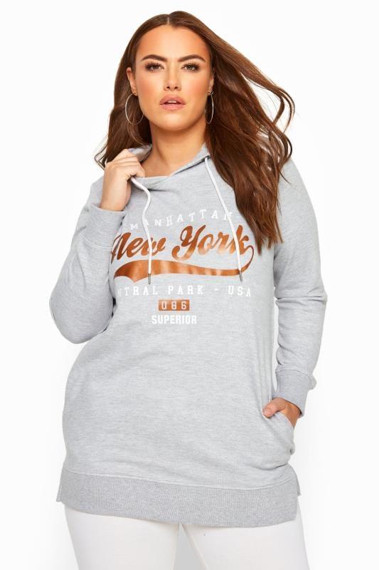 Plus Size Hoodies & Jackets Grey Marl 'New York' Slogan Hoodie