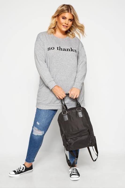 """Sweatshirt mit """"No Thanks"""" Schriftzug - Grau meliert"""
