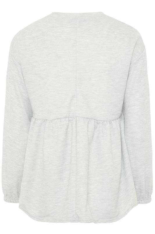 Grey Marl Peplum Sweatshirt