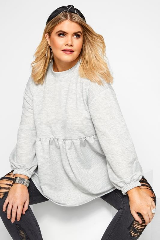 Plus Size Casual / Every Day Grey Marl Peplum Sweatshirt