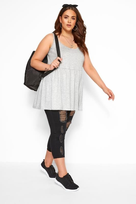 Grey Marl Peplum Vest Top