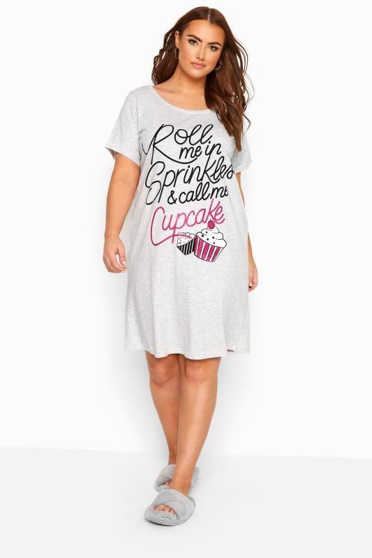 Plus Size Nightdresses & Chemises Grey Marl 'Roll Me In Sprinkles' Glitter Slogan Nightdress