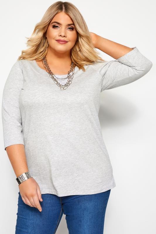 Plus Size Jersey Tops Grey Marl Seamed Scoop Neck Top