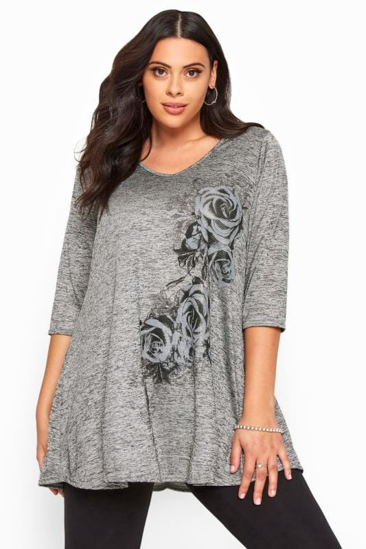 Plus Size Jersey Tops Grey Marl Slinky Floral Rose Print Top