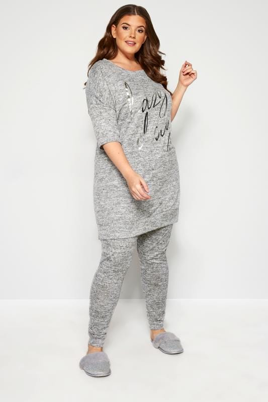 Plus-Größen Plus Size Loungewear Grey Marl Soft Touch Lounge Pants