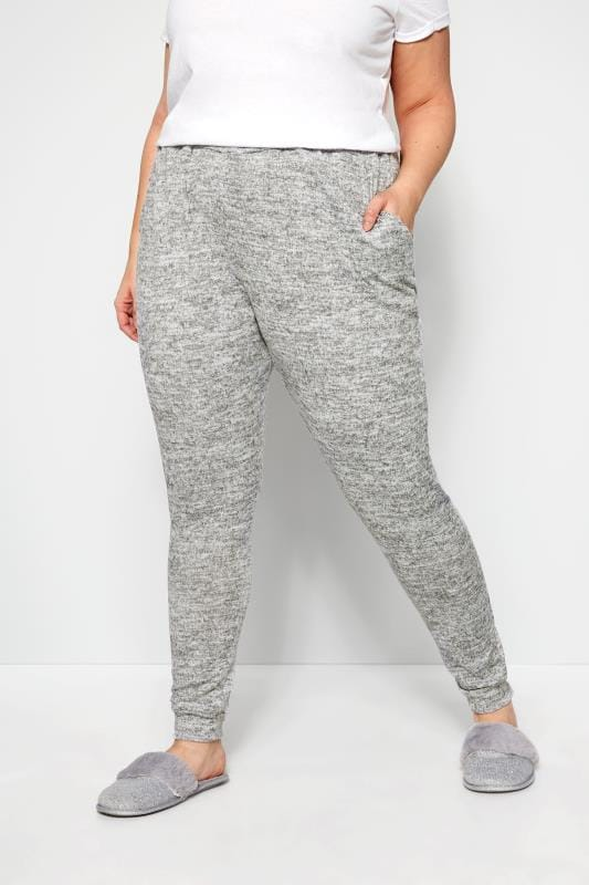 Plus Size Loungewear Grey Marl Soft Touch Lounge Pants