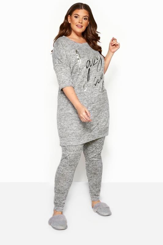 Plus Size Loungewear Grey Marl Soft Touch Lounge Pants