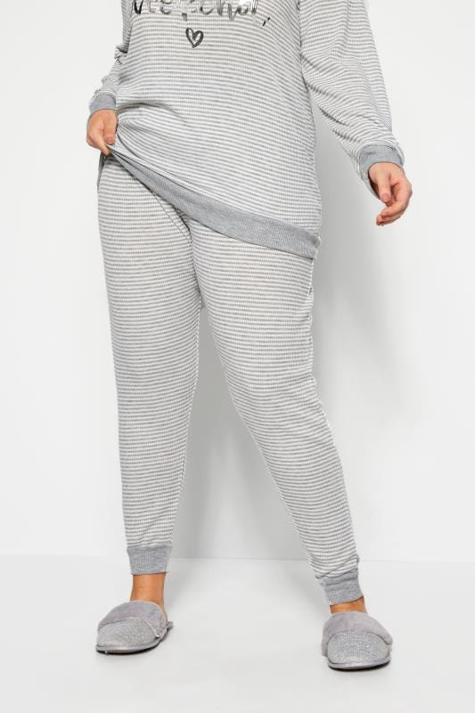 Plus Size Loungewear Grey Marl Stripe Lounge Pants