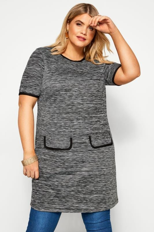 Plus Size Tunics Grey Marl Textured Stripe Tunic