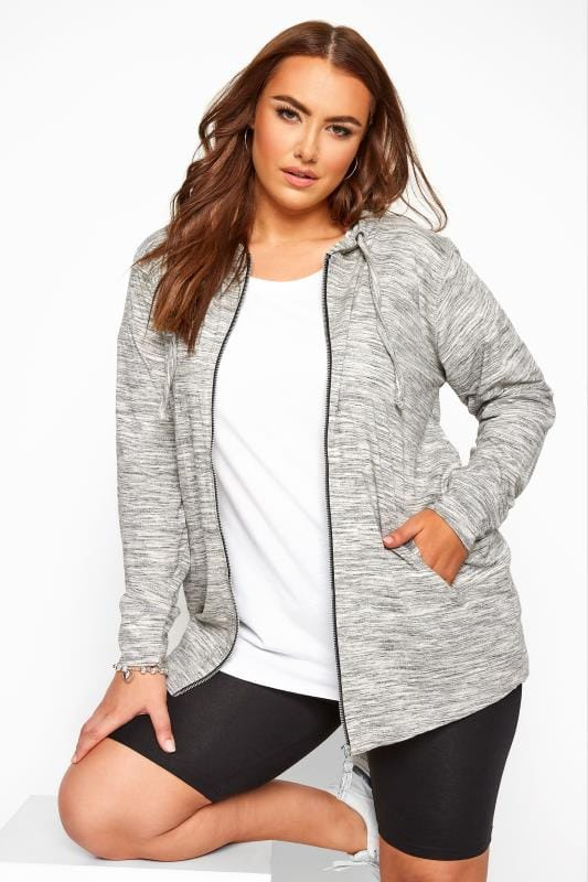 Plus Size Sweatshirts & Hoodies Grey Marl Zip Through Hoodie