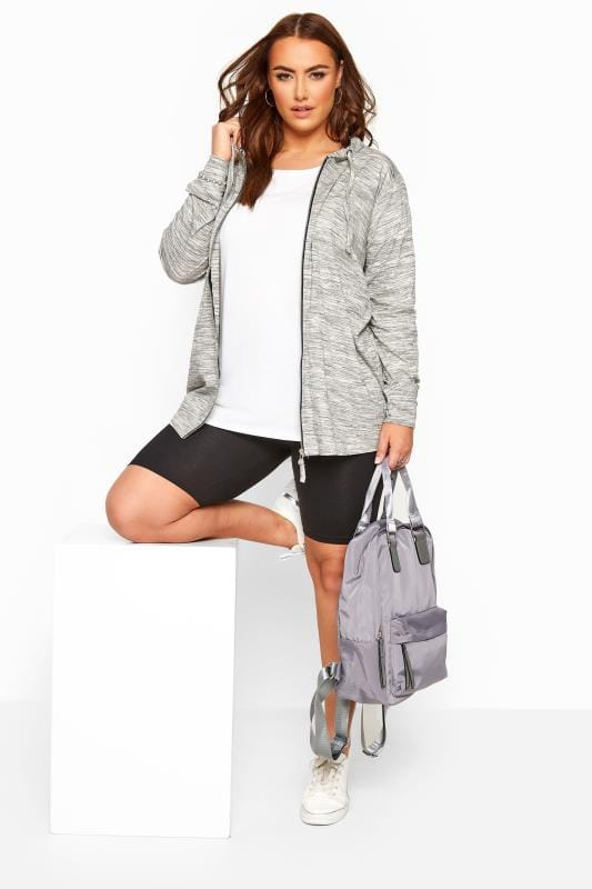 Grey Marl Zip Through Hoodie