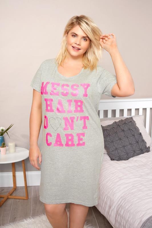 Plus Size Nightshirts Grey 'Messy Hair' Nightdress